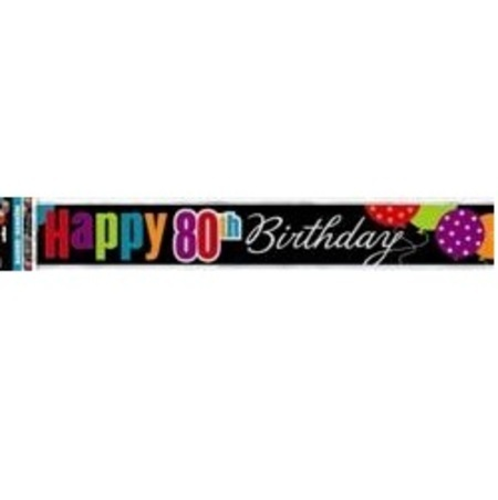 Birthday Cheer Happy 80th Foil Banner M45838