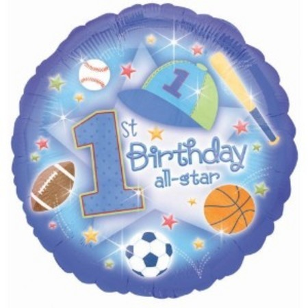 Pleasant First Birthday All Star Foil Balloon Ana119126 Balloon World Funny Birthday Cards Online Bapapcheapnameinfo
