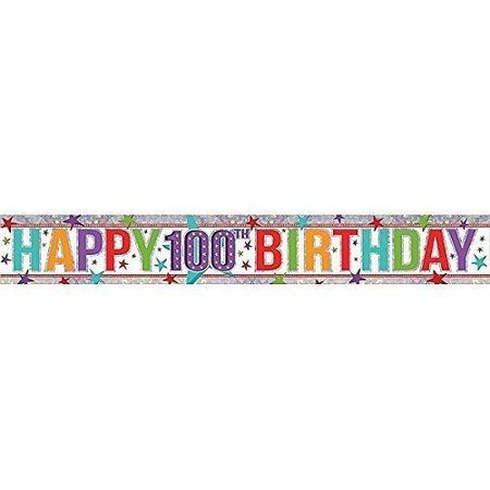 Happy 100th Holographic Multi Colour Banner