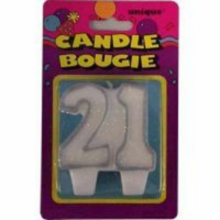 21st Birthday Decorations Party Candle Numeral 21 Glitter Silver