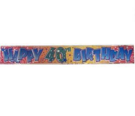 40th Birthday Party Foil Banner