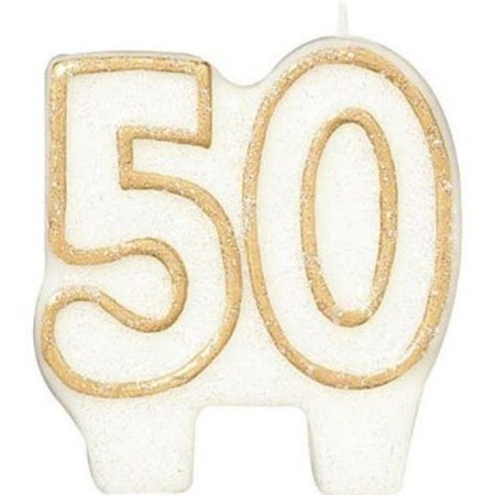 50th Birthday Party Candle Numeral 50 Gold