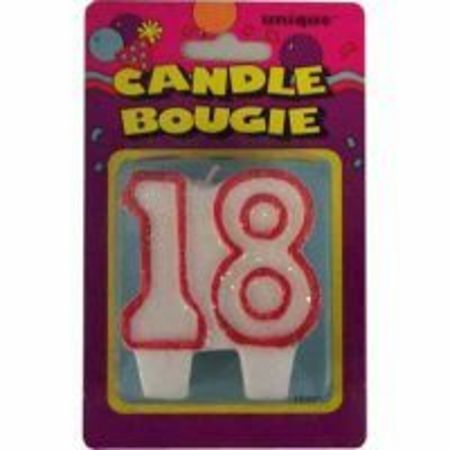 Candle Numeral 18 Glitter Red