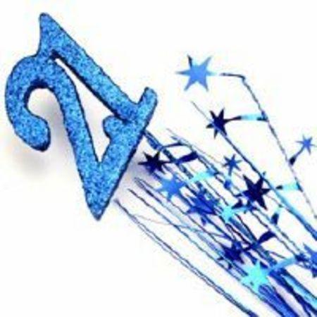21st Birthday Decorations Party Spangles Foam 21 Spray Blue