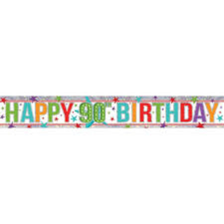 Happy 90th Holographic Multi Colour Banner