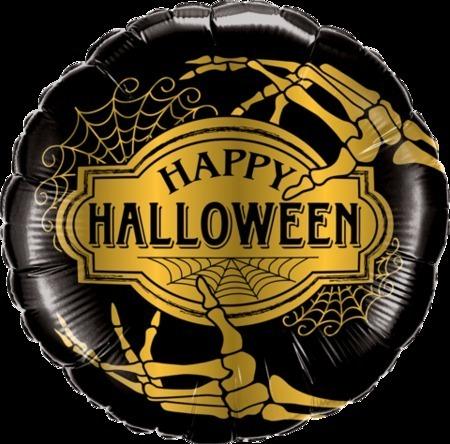 Golden Skeleton Happy Halloween Foil Balloon Q58150