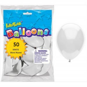 Funsational White 12 inch (30cm) Latex Balloons 50 Count Q71058