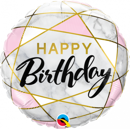 Happy Birthday Marble Rectangles 18 inch Foil Balloon Q88125
